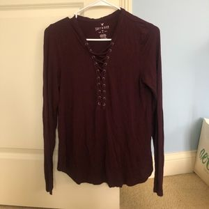 American Eagle fitted Burgundy shirt, soft&sexy t
